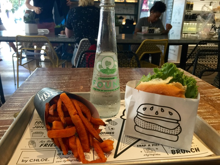 Veggie Burger and Yam Fries@By Chloe