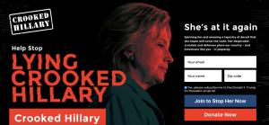 トランプ陣営による「嘘つきヒラリー」のウェブサイトhttps://www.lyingcrookedhillary.com